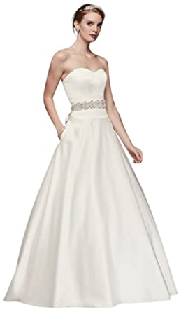 David\'s Bridal Satin Sweetheart Ball Gown with Button Back Style ...
