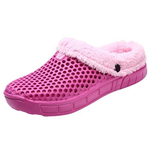 NUWFOR Couple Women Winter Home Slippers Keep Warm Non-slip Indoors Bedroom Floor Shoes?Hot Pink,7.5-8.5 M US?
