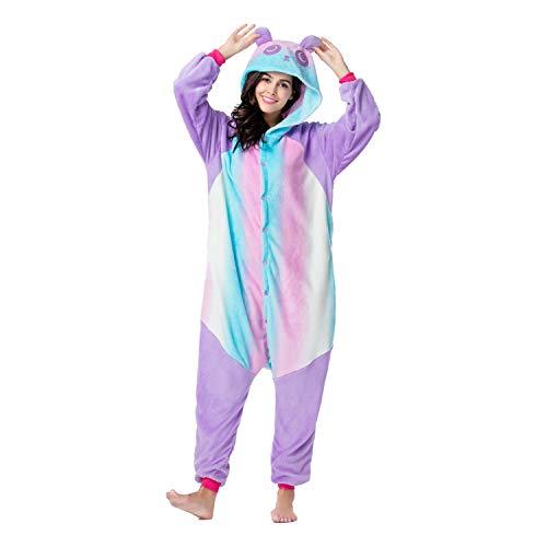 RONGTAI Adults Unisex Animal Kigurumi Flannel Panda Onesie Pajamas Cosplay Costume(XL(5'9
