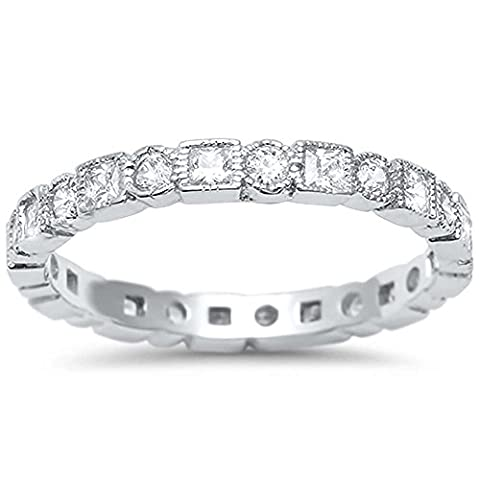 Sterling Silver Antique Style Bezel Set Eternity Stackable Ring Sizes 6 (Antique Ring Band)