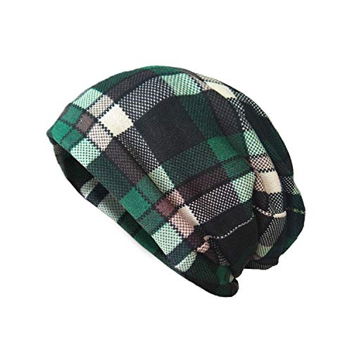 AVOIN colorlife Unisex St Patricks Day Green Plaid Beanie Hat, Irish Knit Skull Cap ()