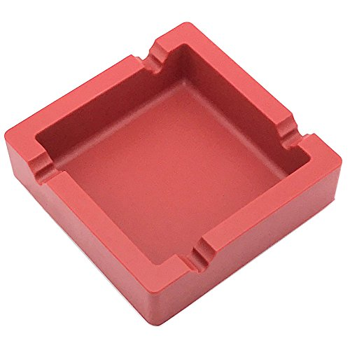 Four Cigar Ashtray (Large Ashtray for Cigarettes Big Cigar Ashtray Outdoor Ashtray 4 Dual-use Rest Unbreakable Silicone Ashtray for Patio Outdoor Indoor Ashtray Home Decoration (Red))