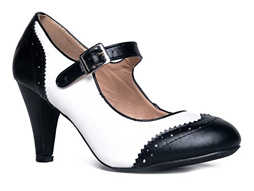 Kym Round Toe Oxford Heel, Black White PU, 9 B(M) US]()
