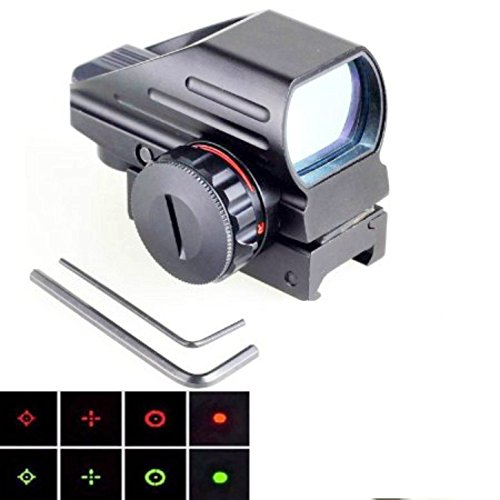 Scopepart Red & Green Reflex Holographic Rifle Scope Dot Sight 8 Different Reticles 22mm