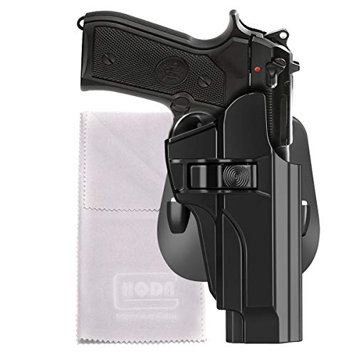HQDA OWB Holster Fits Beretta 92 92fs INOX M9 M9_22 A1(BLK, RH) Tactical Index Finger Release Poymer Paddle Holster Safariland Carry Case, Hand-Gun Holder, Fast Draw 60°Adj. Cant, Right-Handed