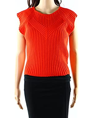 Guess Womens Large Ribbed Vest Sleeveless Sweater Orange L