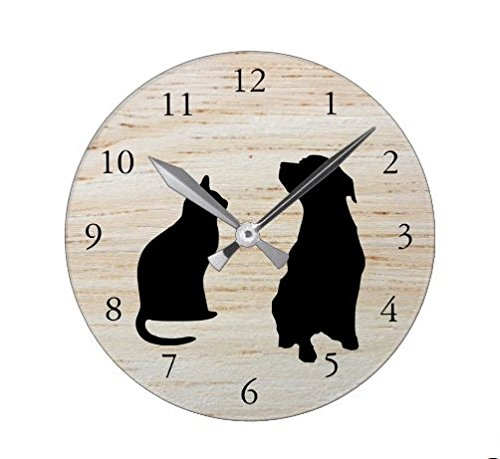 Lionkin8 Modern Cat Dog Silhouettes Pets Wooden Background Square Wall Clock