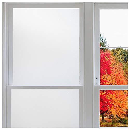 Rabbitgoo Window Privacy Film No Glue, White Frosted Glass Films for Bathroom Home Office, Removable Window Vinyl Frosting Film for Glass Covering, Anti UV (Matte White, 35.4 x 78.7 inches) (Best Way To Take Off Window Tint)