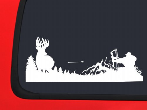 Archery Bow Hunter with Arrow in Air Whitetail - White Hunting window decal sticker
