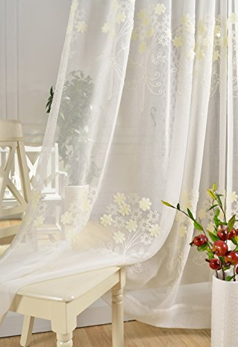 Embroidered White Bedroom Window Sheers Curtain for Living Room Linen Country Voile Organza Panel Flower Dining Room Women Chiffon Gauze Curtain Cafe Transparent Grommet Set 2 pcs,52 x 63 - Rates Epacket