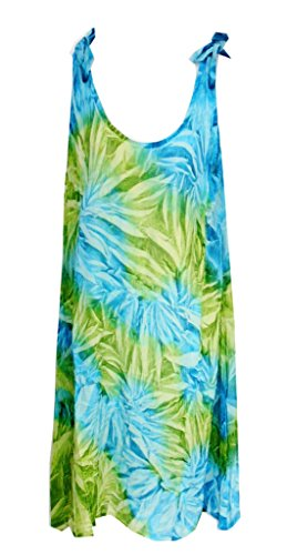 - Raya Sun Crinkle Tie Dye Shoulder Tie Dress Turq/Lime SM