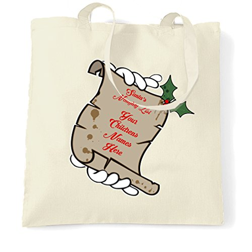Santa's Naughty List Tote Bag Your Childrens Names Here Natural One Size