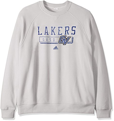 Adidas La Lakers Sweatshirt - NCAA Grand Valley State Lakers Men's PHYS Ed Class Vault Fleece Crew Sweat Shirt, XX-Large, Stone