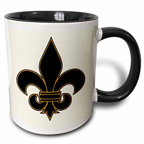 Fleur De Lis Pictures (3dRose mug_22360_4 Large Black and Gold Fleur de lis Christian Saints Symbol Two Tone Black Mug, 11 oz, Black/White)