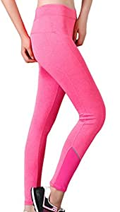 Ultimate Stretch Moisture Whicking Women's Ombre Yoga Running Workout Leggings Pink L
