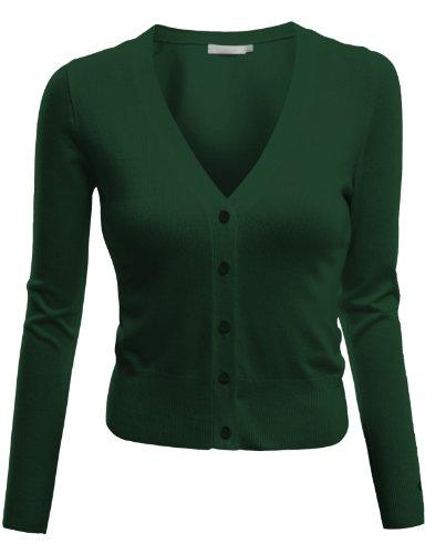 Doublju Short Length Knit Shrug Cardigan GREEN (US-M)