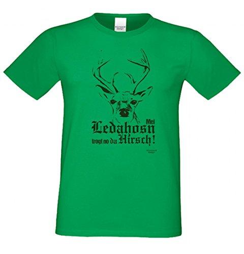 T-Shirt mit Motiv - Mei Ledahosn trogt no da Hirsch - Lustiges Outfit zu Oktoberfest + Wiesn + Volksfest in Grün