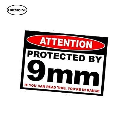Hotmeini Car Accessories Protected 9 Mm Warning Sticker Pistol Gun