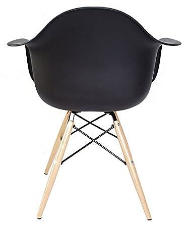 Amazon.com: 2 x Ariel DAW negro sillón de plástico con patas ...