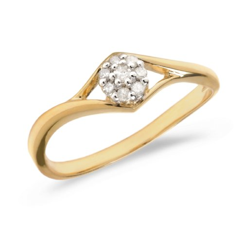 0.16 Carat ctw 14k Gold Round White Diamond Flower Cluster Split Shank Promise Engagement Ring Polished - Yellow-gold, Size 7