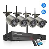 Techage Security Camera System Wireless,8CH WiFi Wireless Home Security Camera System,4pcs 1080P HD Indoor Outdoor Surveillance Cameras System Wireless,Auto Pair,P2P,Motion Alerts,Remote View,1 TB HDD