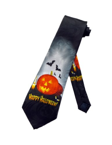 Steven Harris Mens Happy Halloween Jack O'Lantern Necktie - Black - One Size Neck Tie