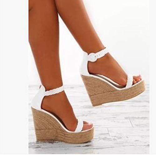 Sharemen Womens Platform Espadrille Wedges Peep Toe High Heel Sandals with Ankle Strap Buckle Up(White,US: 7.5) by Sharemen Shoes (Image #4)