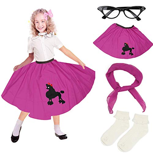 Beelittle 4 Pieces 50s Girls Costume Accessories Set - Vintage Poodle Skirt, Chiffon Scarf, Cat Eye Glasses, Bobby Socks -