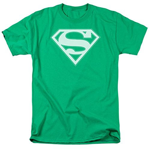 Superman T-Shirt Green & White Shield, L