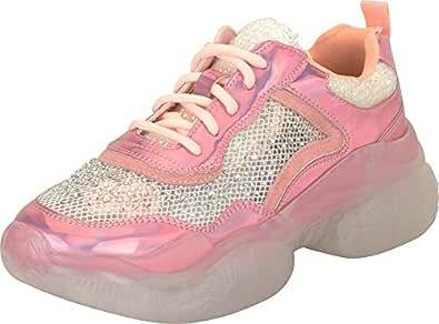 Cambridge Select Women's Retro 90s Ugly Dad Iridescent Glitter Crystal Rhinestone Lace-Up Chunky Platform Fashion Sneaker,6 B(M) US,Pink