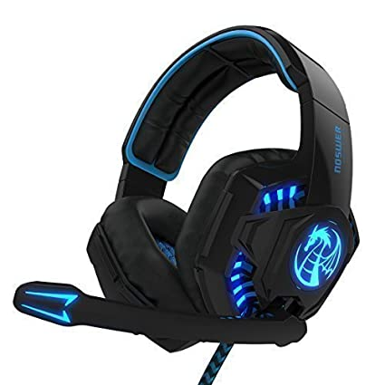 LIHAO NOSWER I8L Stereo Gaming Headset PC LED Light Headphone with Microphone (Blue+Black)