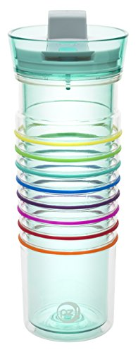 Zak Designs HydraTrak 20 oz. Double Wall Tumbler with Lever Lid, (8 Design Band)