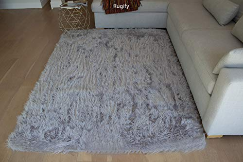 6'x9' Feet Light Gray Light Grey Silver Colors Furry Fluffy Fuzzy Soft Solid Faux Fur Sheepskin Lambskin Sheep Hide Animal Skin Living Room Bedroom Rug Carpet Area Rug Decorative (Fur Shaggy Silver)