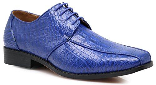 Gator3N Men's Alligator Crocodile Print Oxfords Fashion Lace Up Dress Shoes (12, Royal Blue) Alligator Shoes For Men