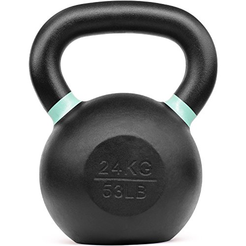 Yes4All Powder Coated Kettlebell Weights with Wide Handles & Flat Bottoms - 24kg/53lbs Cast Iron Kettlebells for Strength, Conditioning & Cross-Training