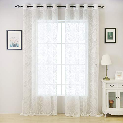 Valea Home Lace Sheer Curtains Grommet Drapes for Bedroom Living Room 54