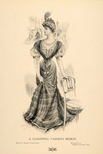 Belle Epoque Costumes (1907 Print Edwardian Lady La Belle Epoque Dress Costume Fashion G Newnes Studios - Original Halftone Print)