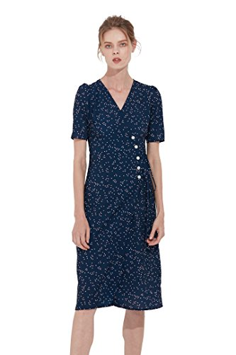 Belle Vannes Womens Deep-V Neck Short Sleeves Vintage Retro French Wrap Dress