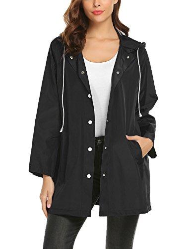ZHENWEI Raincoat Women Travel,Long Trench Rain Jacket Softshell for Camping (Black,L) ()