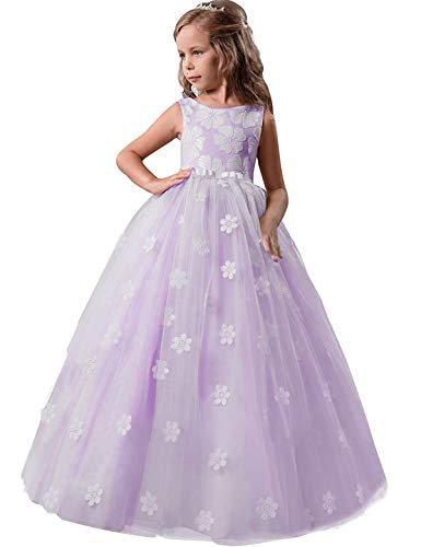 Price comparison product image TTYAOVO Girls Pageant Princess Flower Dress Kids Prom Puffy Tulle Ball Gowns Size 13-14 Years Purple