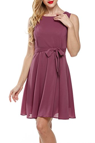 Zeagoo Women Chiffon Summer Sleeveless A-line Pleated Party Cocktail Dress With Belt,Rouge,X-Large