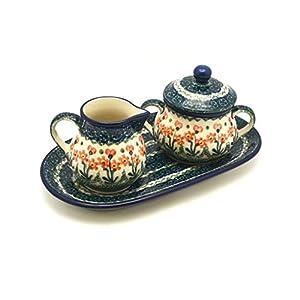 Polish Pottery Cream & Sugar Set – Peach Spring Daisy