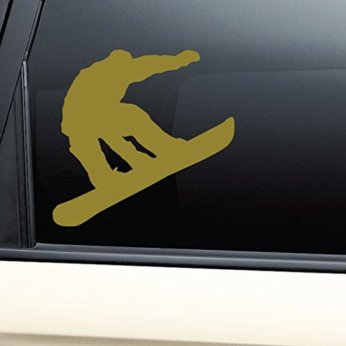 - Snowboarding Snowboarder Snowboard Vinyl Decal Laptop Car Truck Bumper Window Sticker - Metallic Gold Matte