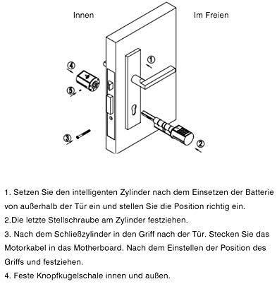 USB acier inoxydable bross/é eLinkSmart Serrure de porte /à cylindre /électronique de s/écurit/é avec code de clavier Compatible avec la plupart des serrures de porte de lUE montage rapide