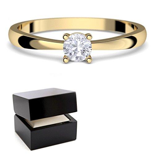 Verlobungsringe Gold 333 *** GRATIS LUXUSETUI *** Goldring 333er Gold Ring echt mit SWAROVSKI Zirkonia Stein Goldring Gelbgold wie Verlobungsring Diamant Ring Gold Diamantring Solitär FF385GG333ZIFA52