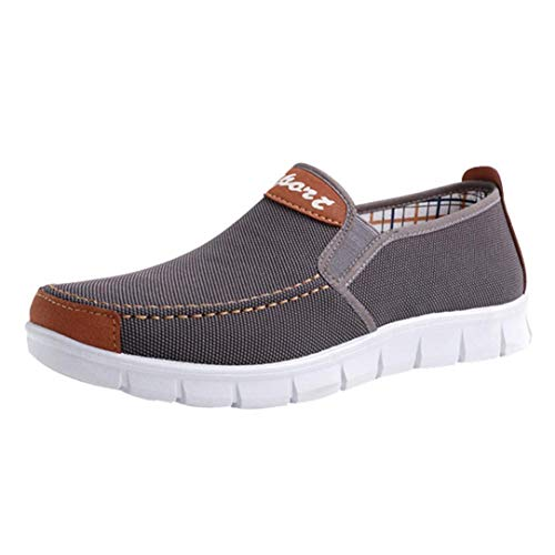 Boomboom Men Shoes, Fashion Men Soft Sole Flat Heel Canvas Casual Cloth Shoes Gray US 8