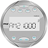 Pyle Round Waterproof Marine Stereo - 4x28 W Aquatic Boat in Dash Gauge Radio Receiver System with Bluetooth, AM FM, Digital LCD, USB, AUX, RCA - Includes Wiring Harness, Bracket - PLMR91US (Silver)