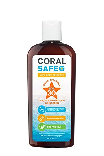 Coral Safe All Natural Biodegradable Sunscreen, SPF 30, Reef Safe, Water Resistant, Approved for Snorkeling and Scuba Diving, 8 Fl - Coral Diving Scuba Reefs