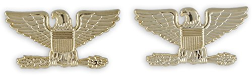 Police Fire EMS Army Collar Brass Pins Insignia Emblem Badges (Assorted Styles) (Colonel Eagle- Gold) ()