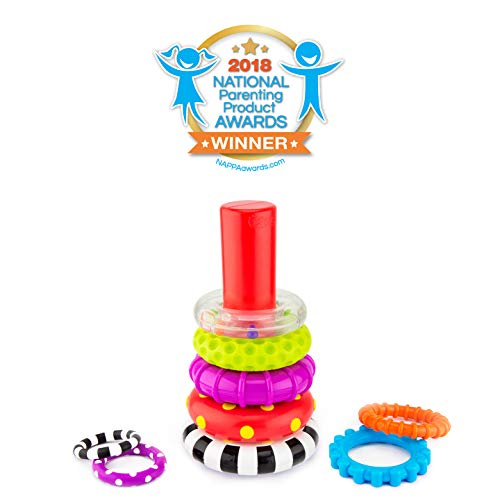 41GP4%2BBcHOL - Sassy Stacks of Circles Stacking Ring STEM Learning Toy, 9 Piece Set, Age 6+ Months